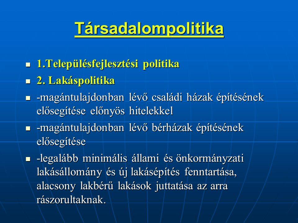 Társadalompolitika 1.Településfejlesztési politika 1.Településfejlesztési politika 2.