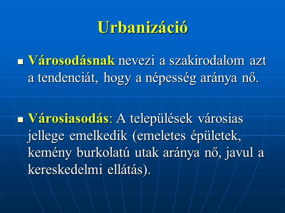 Urbanizáció Városodásnak nevezi a szakirodalom azt a tendenciát, hogy a népesség aránya nő.