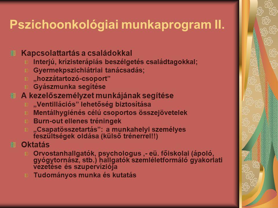 Pszichoonkológiai munkaprogram II. Kapcsolattartás a családokkal Interjú, krízisterápiás beszélgetés családtagokkal; Gyermekpszichiátriai tanácsadás;