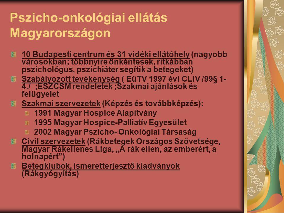 Pszicho-onkológiai ellátás Magyarországon 10 Budapesti centrum és 31 vidéki ellátóhely (nagyobb városokban; többnyire önkéntesek, ritkábban pszichológ