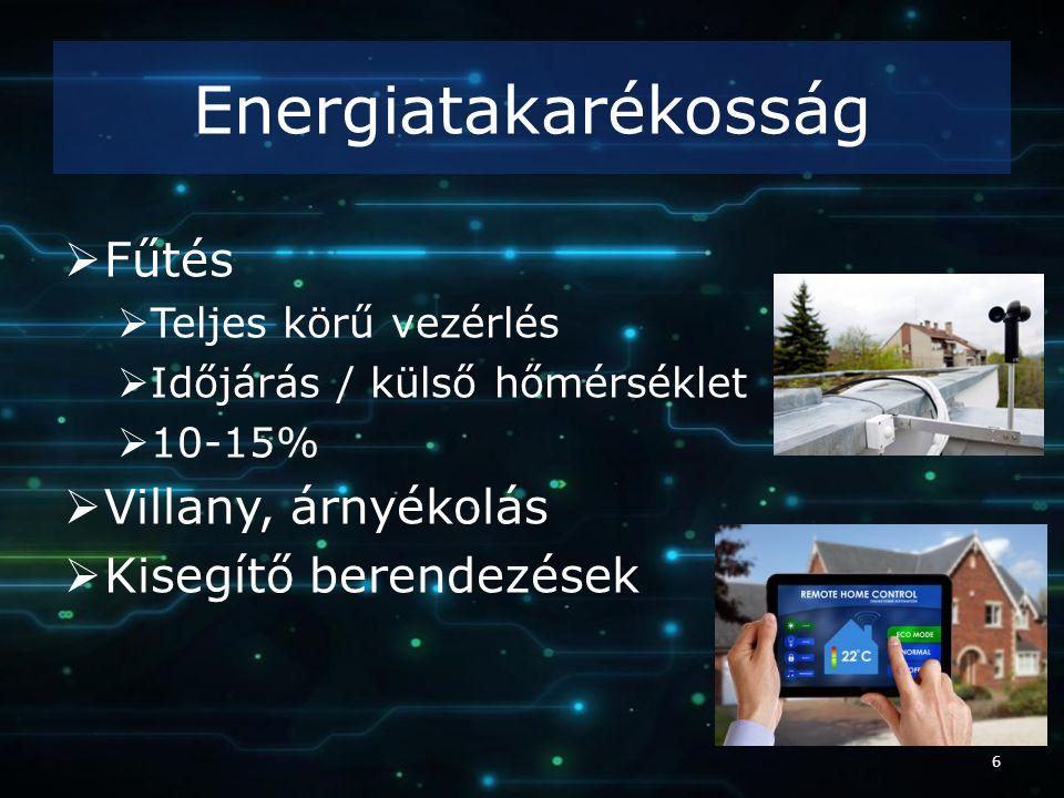 Energiatakarékosság  Fűtés  Teljes körű vezérlés  Időjárás / külső hőmérséklet  10-15%  Villany, árnyékolás  Kisegítő berendezések 6