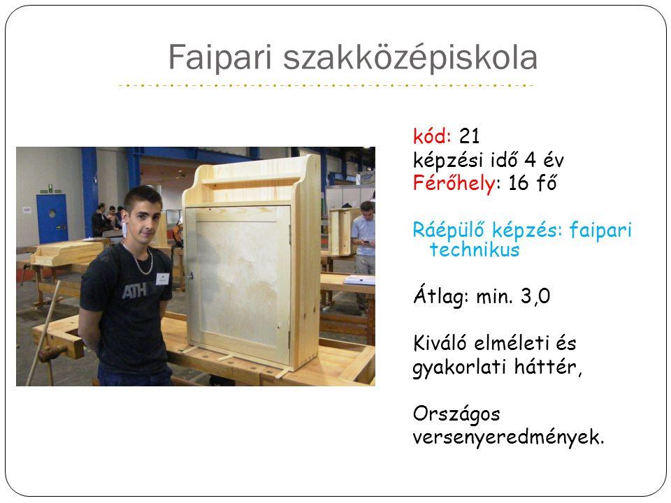Faipari szakközépiskola kód: 21 képzési idő 4 év Férőhely: 16 fő Ráépülő képzés: faipari technikus Átlag: min. 3,0 Kiváló elméleti és gyakorlati hátté