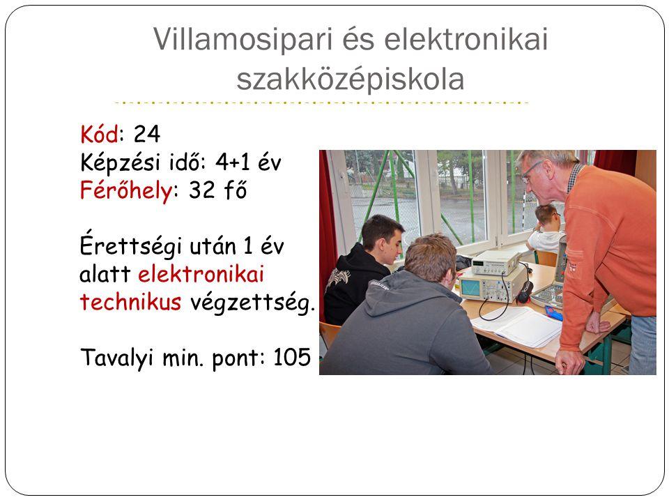 Villamosipari és elektronikai szakközépiskola Kód: 24 Képzési idő: 4+1 év Férőhely: 32 fő Érettségi után 1 év alatt elektronikai technikus végzettség.