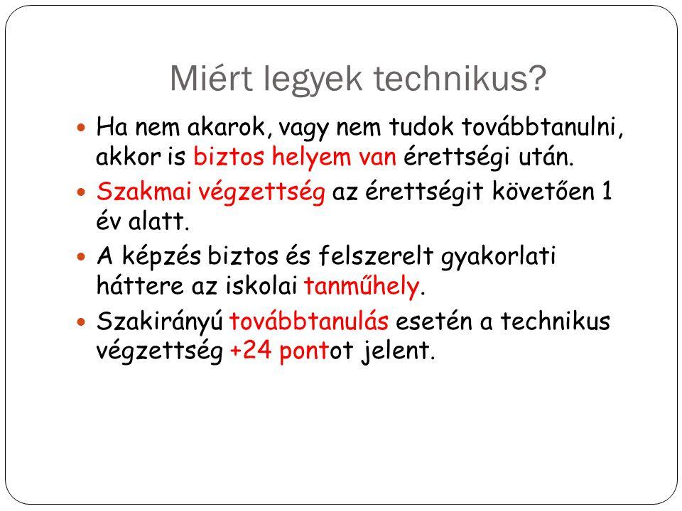 Miért legyek technikus? Ha nem akarok, vagy nem tudok továbbtanulni, akkor is biztos helyem van érettségi után. Szakmai végzettség az érettségit követ