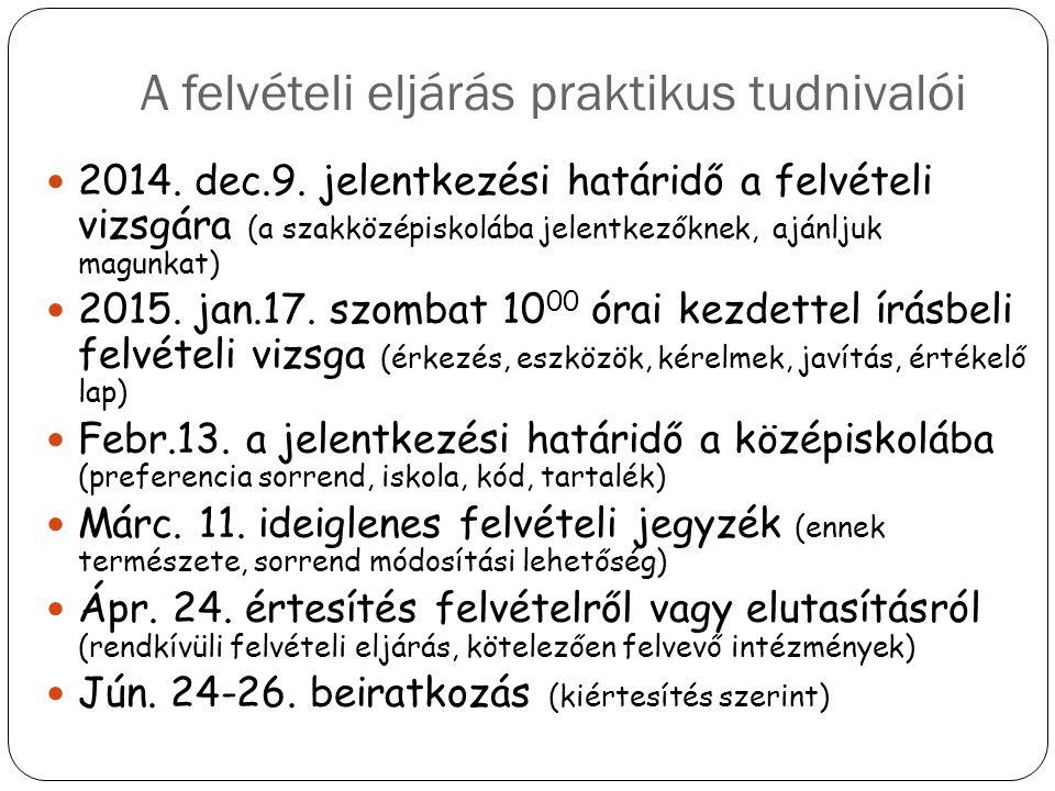 A felvételi eljárás praktikus tudnivalói 2014. dec.9. jelentkezési határidő a felvételi vizsgára (a szakközépiskolába jelentkezőknek, ajánljuk magunka