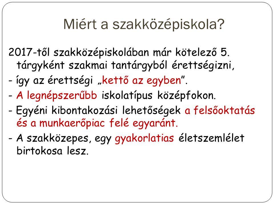 Felvétel a szakközépiskolába Központi írásbeli felvételi magyarból és matematikából, melynek eredményét 50 %-ban számítjuk be.