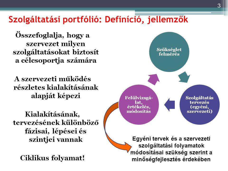 Szolgáltatási portfólió: Definíció, jellemzők Összefoglalja, hogy a szervezet milyen szolgáltatásokat biztosít a célcsoportja számára A szervezeti működés részletes kialakításának alapját képezi Kialakításának, tervezésének különböző fázisai, lépései és szintjei vannak Ciklikus folyamat.