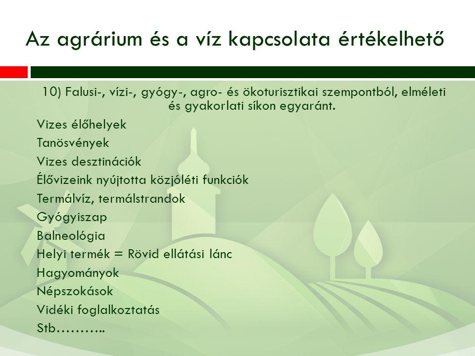 10) Falusi-, vízi-, gyógy-, agro- és ökoturisztikai szempontból, elméleti és gyakorlati síkon egyaránt.