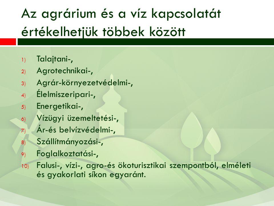Az agrárium és a víz kapcsolatát értékelhetjük többek között 1) Talajtani-, 2) Agrotechnikai-, 3) Agrár-környezetvédelmi-, 4) Élelmiszeripari-, 5) Energetikai-, 6) Vízügyi üzemeltetési-, 7) Ár-és belvízvédelmi-, 8) Szállítmányozási-, 9) Foglalkoztatási-, 10) Falusi-, vízi-, agro-és ökoturisztikai szempontból, elméleti és gyakorlati síkon egyaránt.