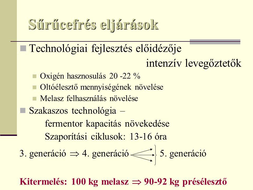 Sűrűcefrés eljárások Technológiai fejlesztés előidézője intenzív levegőztetők Oxigén hasznosulás 20 -22 % Oltóélesztő mennyiségének növelése Melasz felhasználás növelése Szakaszos technológia – fermentor kapacitás növekedése Szaporítási ciklusok: 13-16 óra 3.