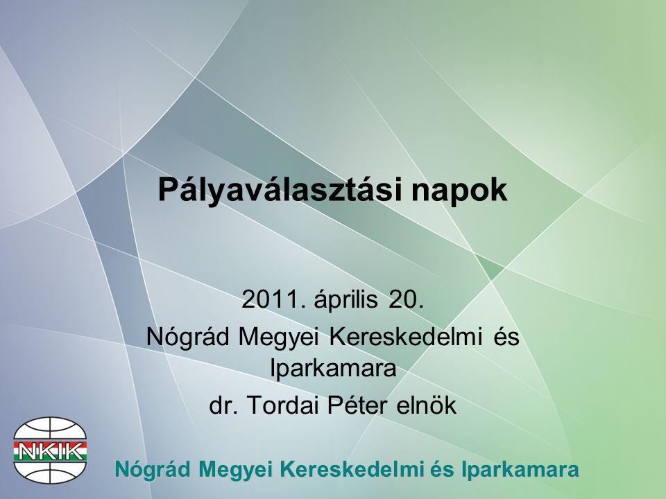 Nógrád Megyei Kereskedelmi és Iparkamara SZKTV résztvételi arány Nógrád megye TanévSzakmák száma Részt vett tanulók száma Országos döntősök és helyezéseik 2007/20081028Ács-állványozó (2.) 2008/20091257Asztalos (2.),Kereskedő (3.),Kőműves (3.) Gázvezeték és készülék szerelő (6.,10.) Női ruha készítő (8.),Hegesztő (9.) 2009/20101268Kereskedő (3.) Szobafestő, mázoló (3.) Központifűtés szerelő (9.) 2010/20111787Kereskedő (?)