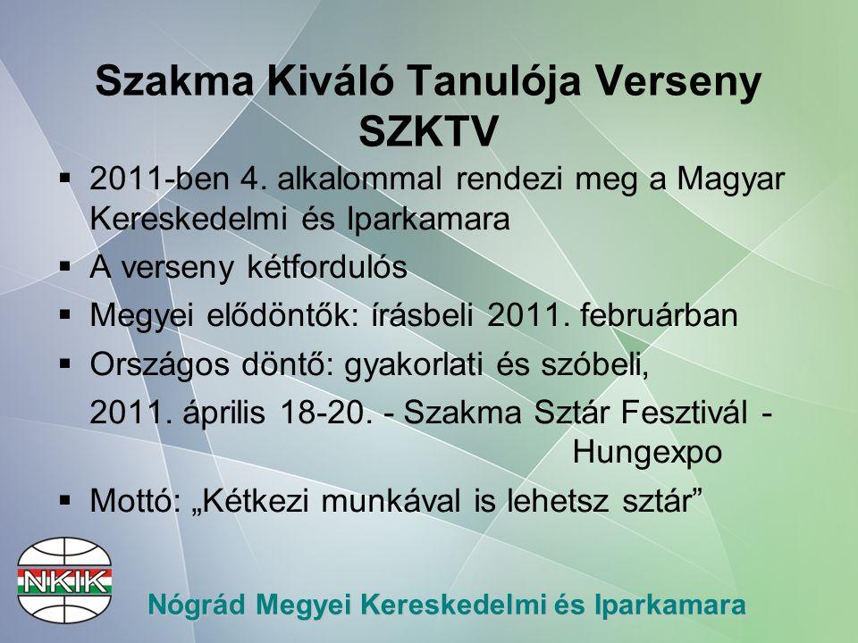 Nógrád Megyei Kereskedelmi és Iparkamara Szakma Kiváló Tanulója Verseny SZKTV  2011-ben 4.