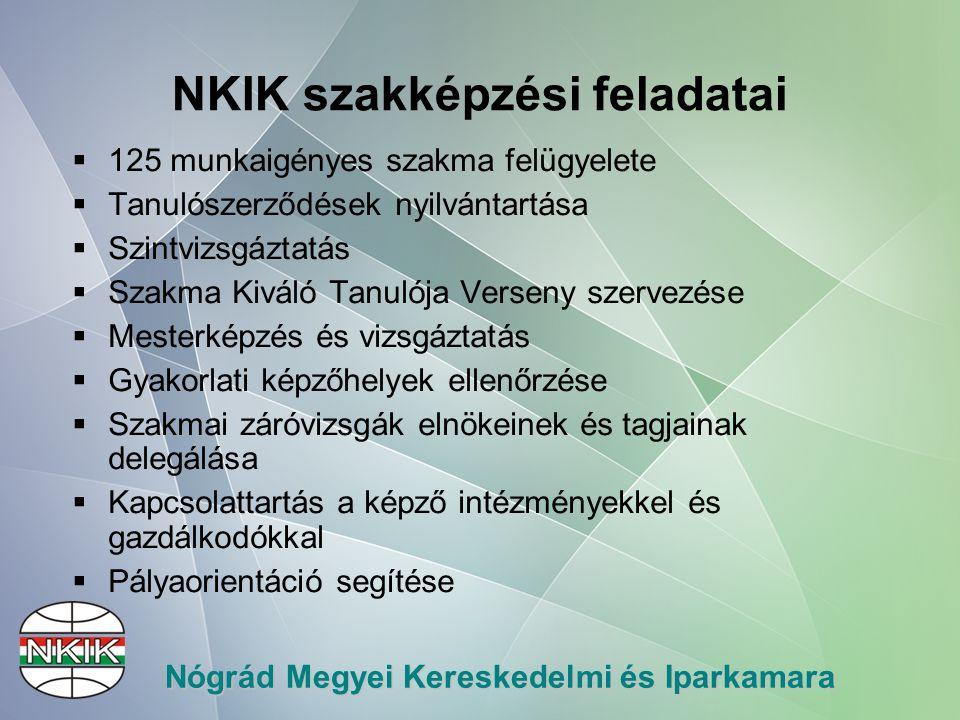 Nógrád Megyei Kereskedelmi és Iparkamara 125 szakma felügyelete  2010.