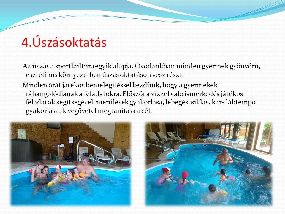4.Úszásoktatás Az úszás a sportkultúra egyik alapja. Óvodánkban minden gyermek gyönyörű, esztétikus környezetben úszás oktatáson vesz részt. Minden ór