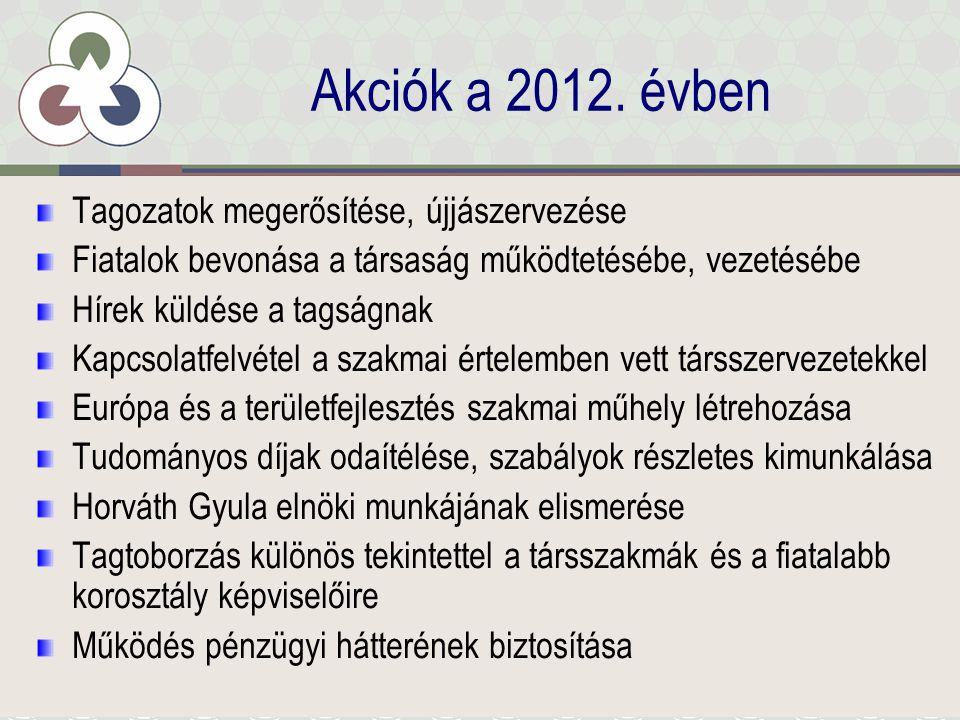 Tagozatok megerősítése, újjászervezése Folyamatosan működő ■Közép-Magyarország ■Sopron (≠ Nyugat-dunántúli tagozat) ■Vajdaság Működő ■Dél-Alföld ■Észak-Alföld ■Közép-Erdély (Kolozsvár) ■Székelyföld (Csíkszereda) Alkalmanként működő ■Közép-Dunántúl ■Nyugat-Szlovákia (Révkomárom) Alvó tagozat ■Dél-Dunántúl ■Észak-Magyarország ■Kárpátalja ■Kelet-Szlovákia ■Nyugat-Dunántúl ■Sikeres tagtoborzás: 2012-ben rekordszámú új tag lépet be: 60 fő, ebből 33 határon túli (11 tagdíjfizetővel gyarapodott a Közép-magyarországi tagozat)