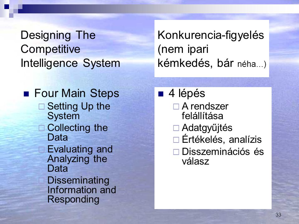 33 Designing The Competitive Intelligence System Four Main Steps  Setting Up the System  Collecting the Data  Evaluating and Analyzing the Data  D