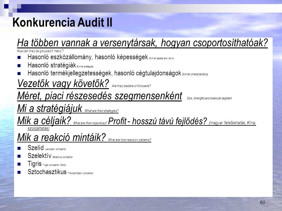 60 Konkurencia Audit II Ha többen vannak a versenytársak, hogyan csoportosíthatóak.
