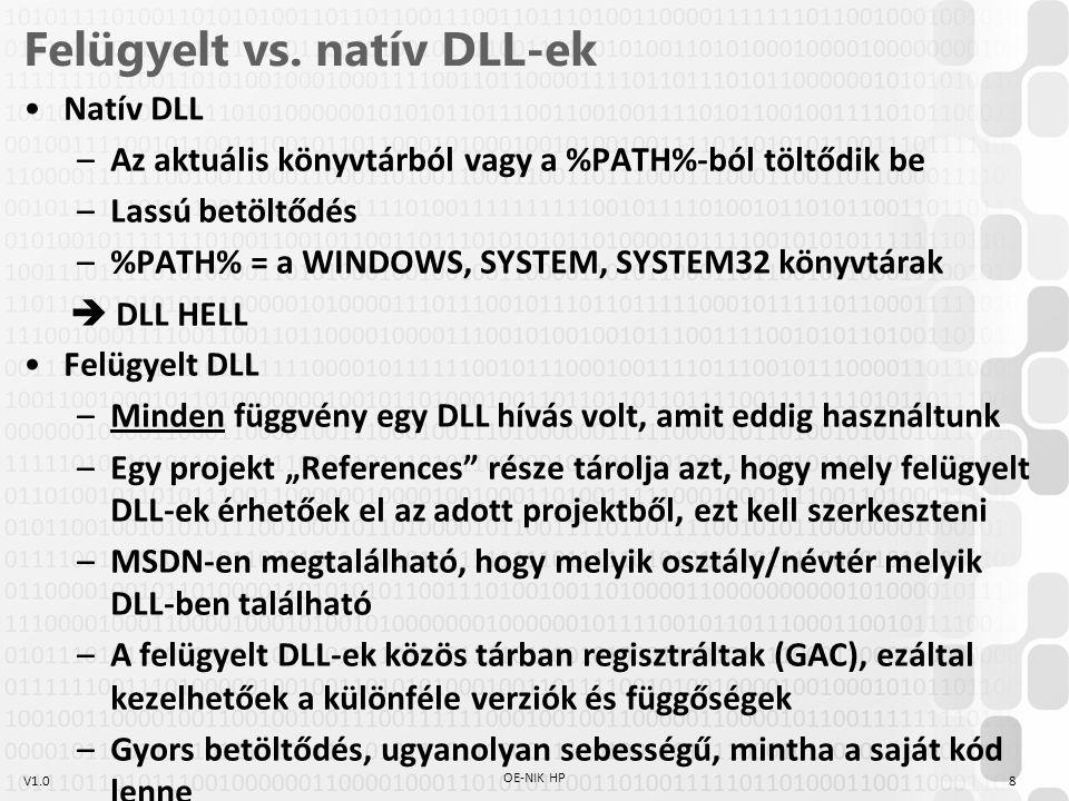 V1.0 DLL elérése a.NET keretrendszerben Felügyelt DLL hívása –Referencia hozzáadása: Project/Add reference –Ezután a DLL-ben tárolt névtér és az abban tárolt osztályok/metódusok a szokványos módon elérhetőek Platform Invoke (P/Invoke: natív bytekód hívása felügyelt környezetből)  DllImport attribútum – using System.Runtime.InteropServices; — [DllImport( winmm.dll , SetLastError = true)] static extern bool PlaySound(string pszSound, UIntPtr hmod, uint fdwSound); — string fname = @ c:\Windows\Media\tada.wav ; PlaySound(fname, UIntPtr.Zero, 1); –Szignatúrák, importok: www.pinvoke.net 9 OE-NIK HP