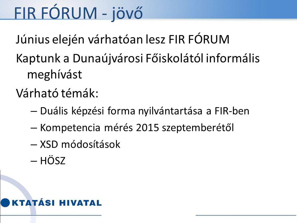 FIR FÓRUM - jövő Június elején várhatóan lesz FIR FÓRUM Kaptunk a Dunaújvárosi Főiskolától informális meghívást Várható témák: – Duális képzési forma