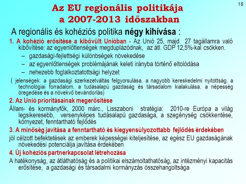 15 Az EU regionális politikája a 2007-2013 időszakban A regionális és kohéziós politika négy kihívása : 1.