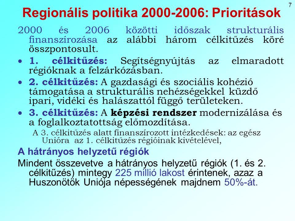 7 Regionális politika 2000-2006: Prioritások 2000 és 2006 közötti időszak strukturális finanszírozása az alábbi három célkitűzés köré összpontosult.