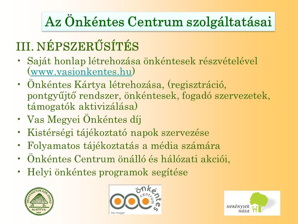 Az Önkéntes Centrum szolgáltatásai III.