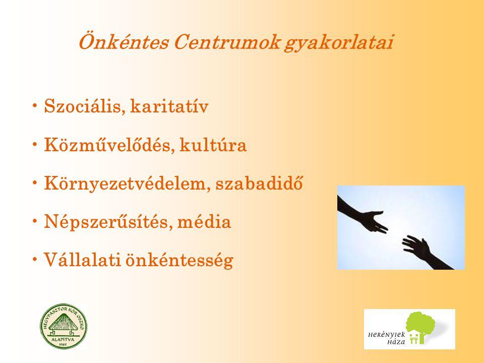 Önkéntes Centrumok gyakorlatai Szociális, karitatív Közművelődés, kultúra Környezetvédelem, szabadidő Népszerűsítés, média Vállalati önkéntesség