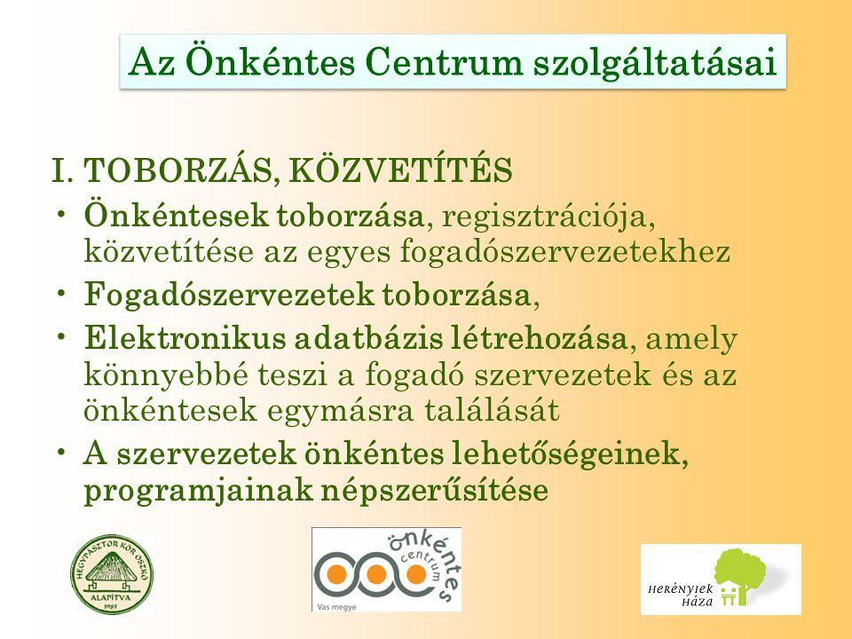 Az Önkéntes Centrum szolgáltatásai I.