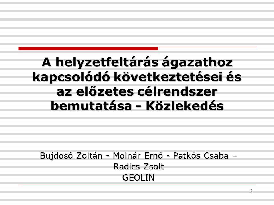 A helyzetfeltárás ágazathoz kapcsolódó következtetései és az előzetes célrendszer bemutatása - Közlekedés Bujdosó Zoltán - Molnár Ernő - Patkós Csaba – Radics Zsolt GEOLIN 1