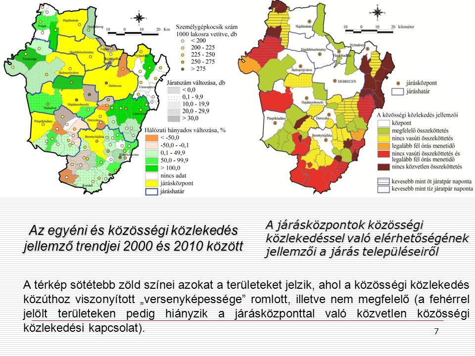 """A járásközpontok közösségi közlekedéssel való elérhetőségének jellemzői a járás településeiről Az egyéni és közösségi közlekedés jellemző trendjei 2000 és 2010 között A térkép sötétebb zöld színei azokat a területeket jelzik, ahol a közösségi közlekedés közúthoz viszonyított """"versenyképessége romlott, illetve nem megfelelő (a fehérrel jelölt területeken pedig hiányzik a járásközponttal való közvetlen közösségi közlekedési kapcsolat)."""