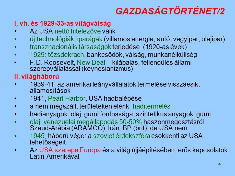 4 GAZDASÁGTÖRTÉNET/2 I. vh. és 1929-33-as világválság Az USA nettó hitelezővé válik új technológiák, iparágak (villamos energia, autó, vegyipar, olaji