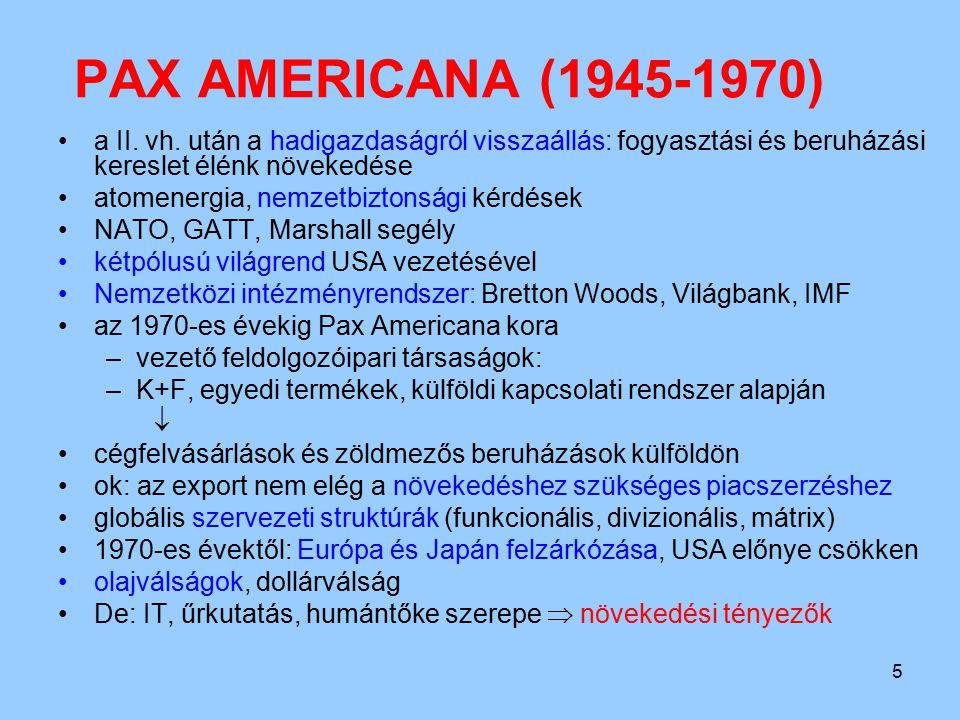 5 PAX AMERICANA (1945-1970) a II. vh. után a hadigazdaságról visszaállás: fogyasztási és beruházási kereslet élénk növekedése atomenergia, nemzetbizto