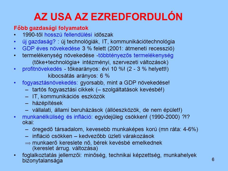 6 AZ USA AZ EZREDFORDULÓN Főbb gazdasági folyamatok 1990-től hosszú fellendülési időszak új gazdaság? : új technológiák, IT, kommunikációtechnológia G