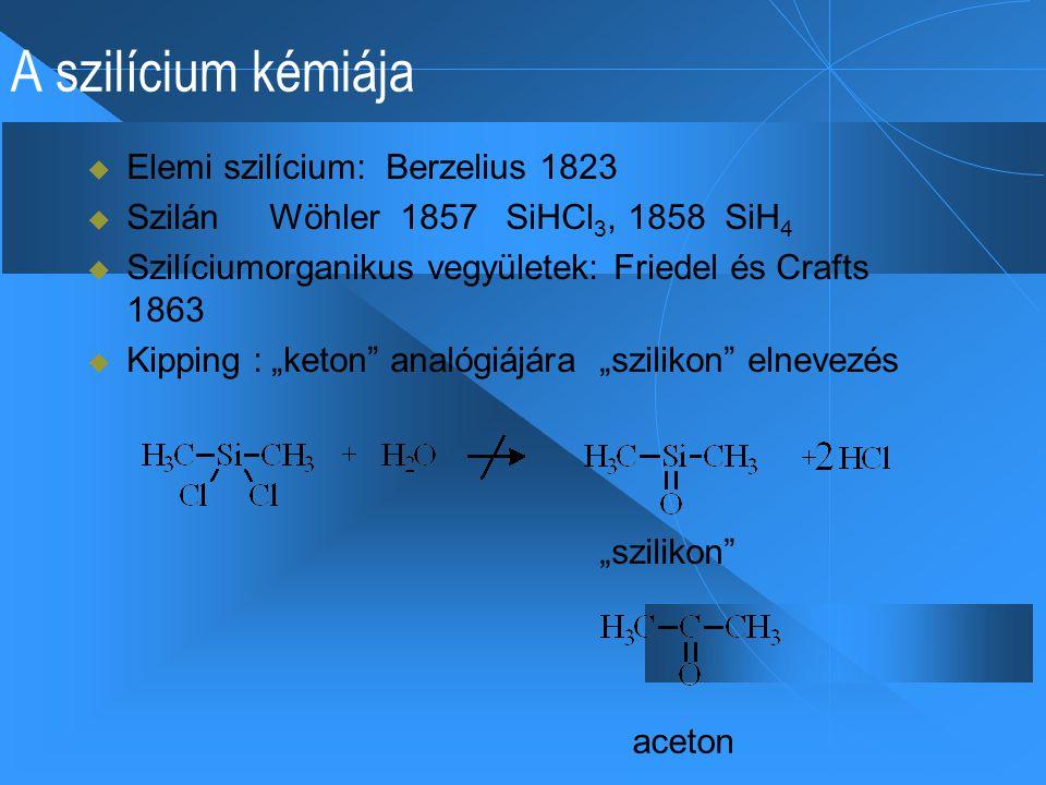 """A szilícium kémiája  Elemi szilícium: Berzelius 1823  Szilán Wöhler 1857 SiHCl 3, 1858 SiH 4  Szilíciumorganikus vegyületek: Friedel és Crafts 1863  Kipping : """"keton analógiájára """"szilikon elnevezés aceton """"szilikon"""