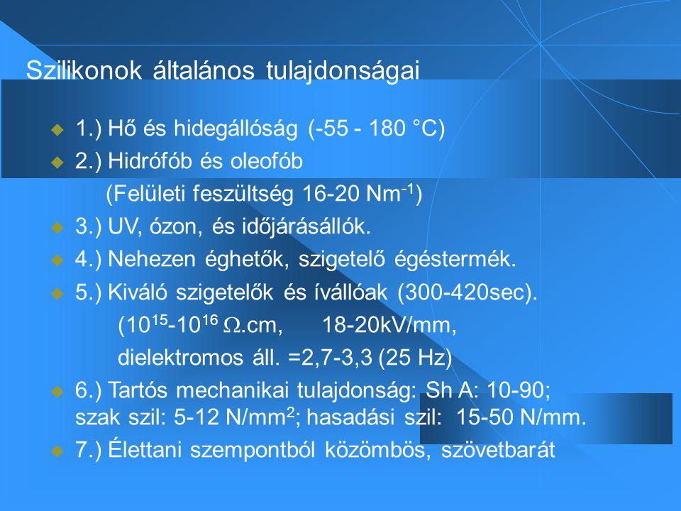 Szilikonok általános tulajdonságai  1.) Hő és hidegállóság (-55 - 180 °C)  2.) Hidrófób és oleofób (Felületi feszültség 16-20 Nm -1 )  3.) UV, ózon, és időjárásállók.
