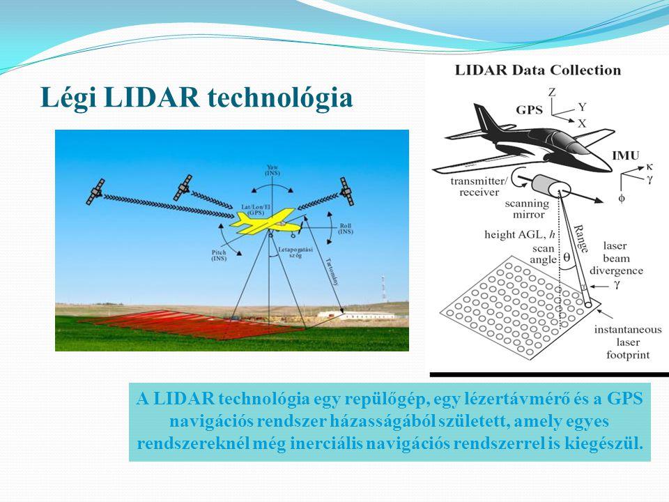 Légi LIDAR technológia A LIDAR technológia egy repülőgép, egy lézertávmérő és a GPS navigációs rendszer házasságából született, amely egyes rendszerek