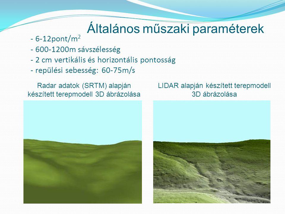 - 6-12pont/m 2 - 600-1200m sávszélesség - 2 cm vertikális és horizontális pontosság - repülési sebesség: 60-75m/s Radar adatok (SRTM) alapján készített terepmodell 3D ábrázolása LIDAR alapján készített terepmodell 3D ábrázolása Általános műszaki paraméterek