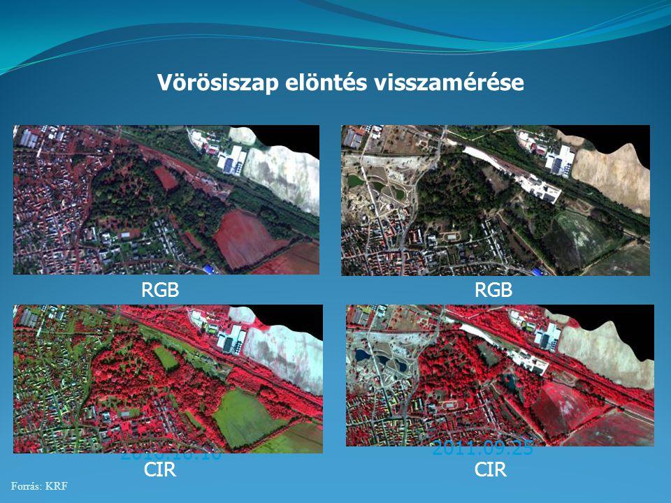 2010.10.10 Vörösiszap elöntés visszamérése 2011.09.25 RGB CIR Forrás: KRF