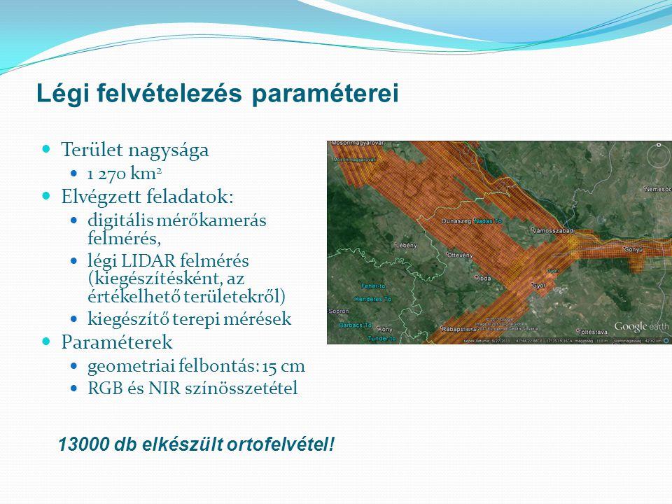Terület nagysága 1 270 km 2 Elvégzett feladatok: digitális mérőkamerás felmérés, légi LIDAR felmérés (kiegészítésként, az értékelhető területekről) ki