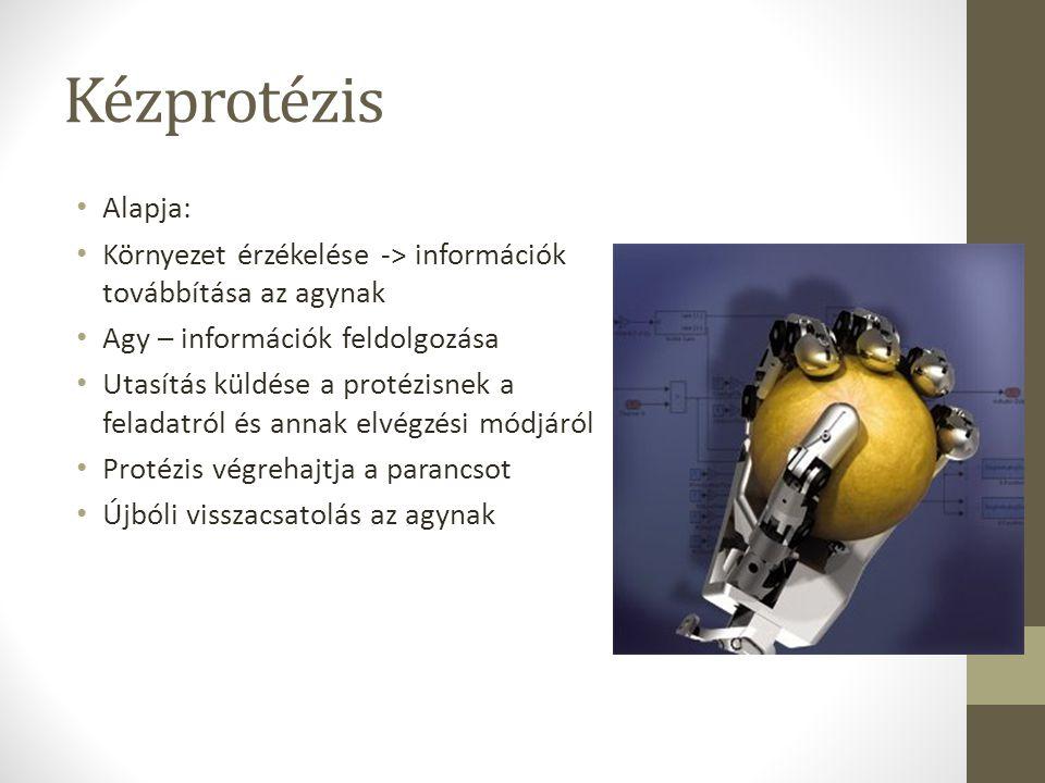 Kézprotézis Alapja: Környezet érzékelése -> információk továbbítása az agynak Agy – információk feldolgozása Utasítás küldése a protézisnek a feladatr