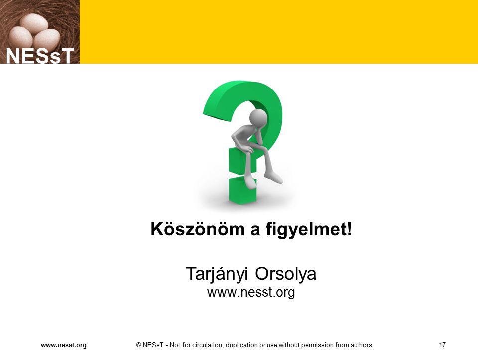 NESsT © NESsT - Not for circulation, duplication or use without permission from authors.www.nesst.org NESsT 17 Köszönöm a figyelmet! Tarjányi Orsolya