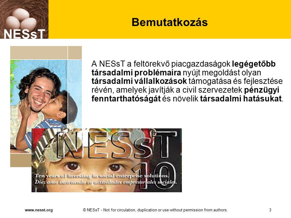 NESsT © NESsT - Not for circulation, duplication or use without permission from authors.www.nesst.org NESsT Bemutatkozás A NESsT a feltörekvő piacgazdaságok legégetőbb társadalmi problémaira nyújt megoldást olyan társadalmi vállalkozások támogatása és fejlesztése révén, amelyek javítják a civil szervezetek pénzügyi fenntarthatóságát és növelik társadalmi hatásukat.