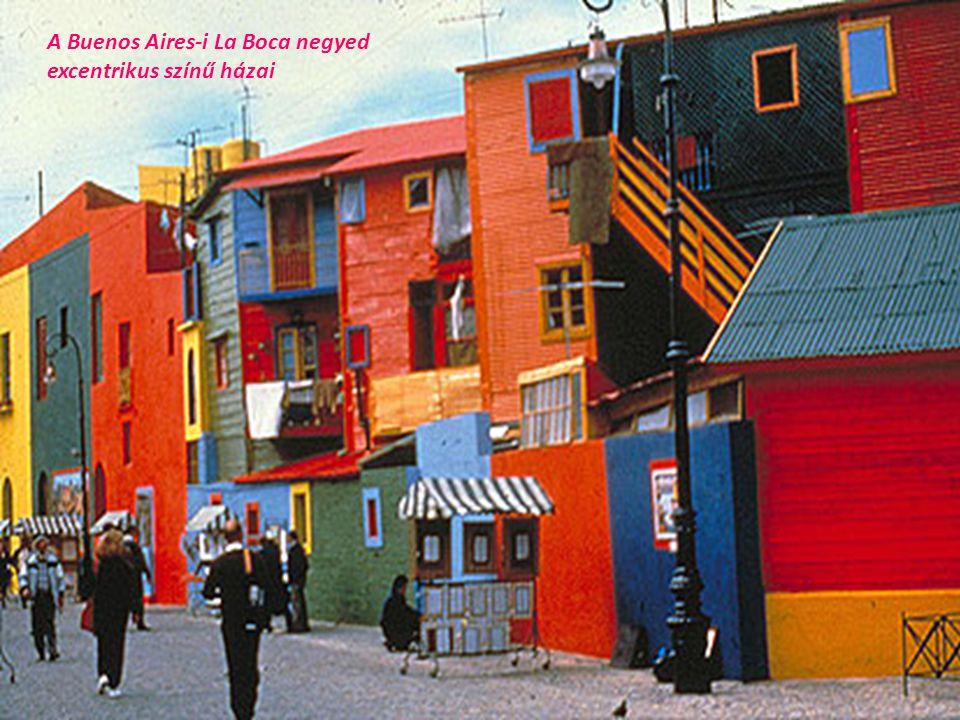 A Buenos Aires-i La Boca negyed excentrikus színű házai
