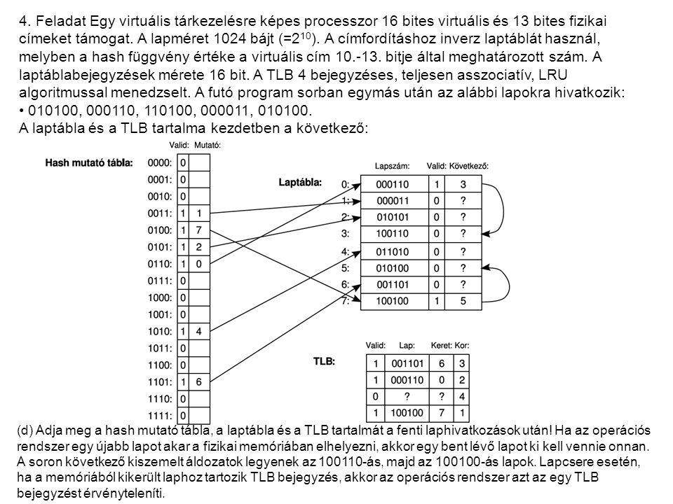 4. Feladat Egy virtuális tárkezelésre képes processzor 16 bites virtuális és 13 bites fizikai címeket támogat. A lapméret 1024 bájt (=2 10 ). A címfor