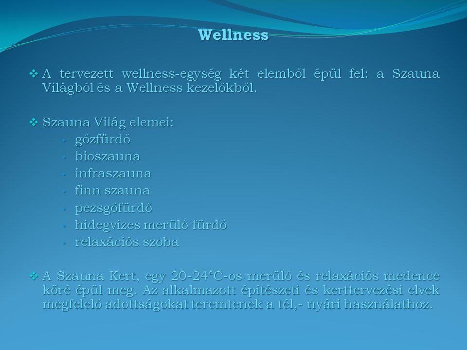 Wellness  A tervezett wellness-egység két elemből épül fel: a Szauna Világból és a Wellness kezelőkből.