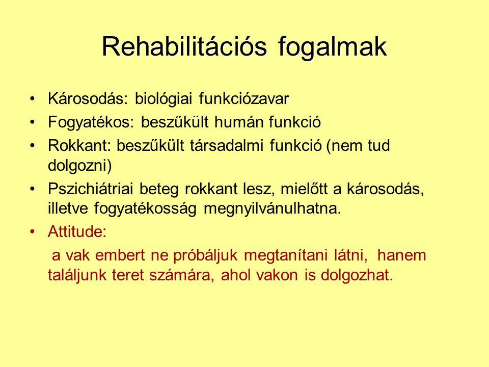 Rehabilitációs fogalmak Károsodás: biológiai funkciózavar Fogyatékos: beszűkült humán funkció Rokkant: beszűkült társadalmi funkció (nem tud dolgozni)