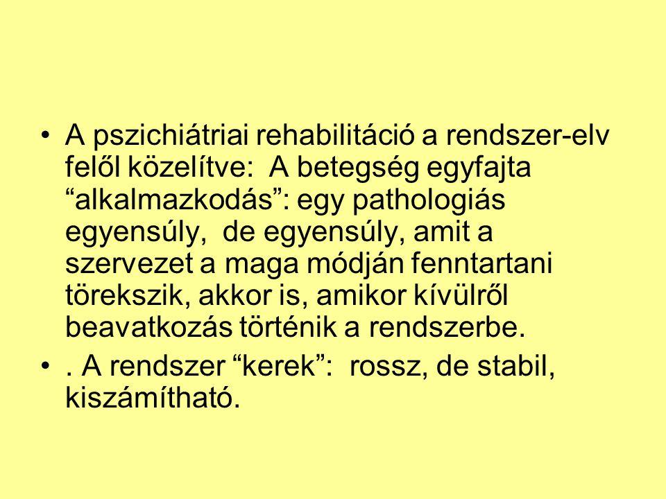 """A pszichiátriai rehabilitáció a rendszer-elv felől közelítve: A betegség egyfajta """"alkalmazkodás"""": egy pathologiás egyensúly, de egyensúly, amit a sze"""