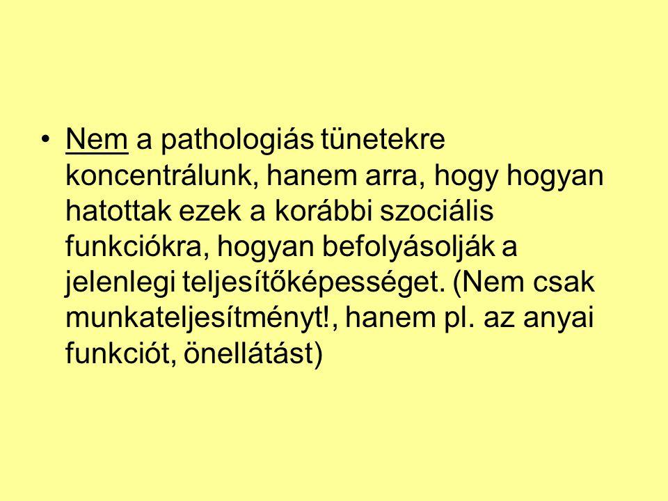 Nem a pathologiás tünetekre koncentrálunk, hanem arra, hogy hogyan hatottak ezek a korábbi szociális funkciókra, hogyan befolyásolják a jelenlegi telj