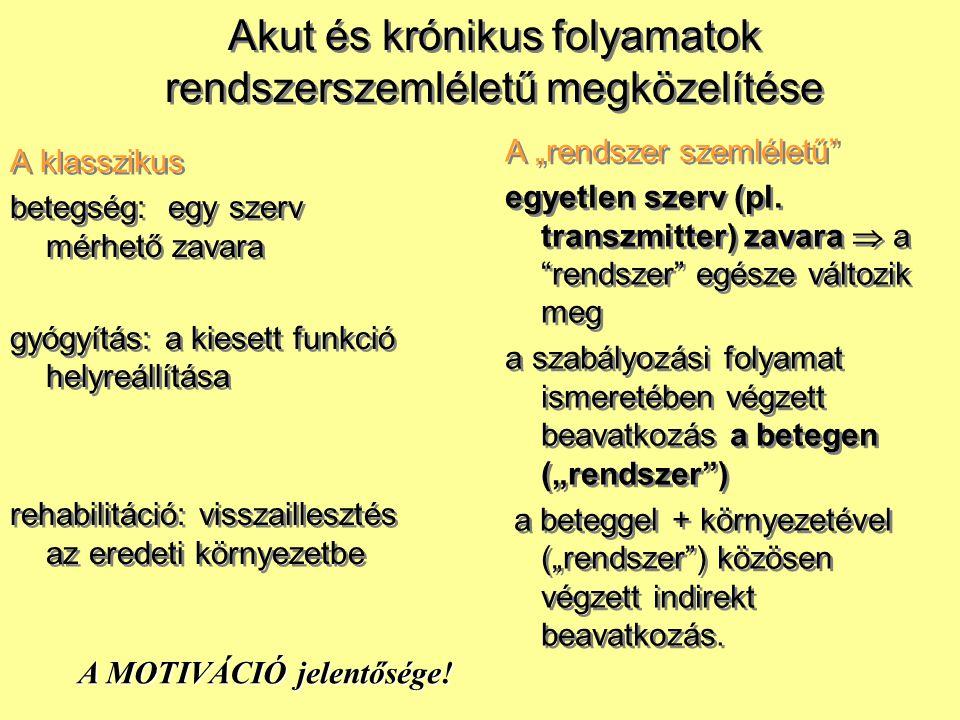 A klasszikus betegség: egy szerv mérhető zavara gyógyítás: a kiesett funkció helyreállítása rehabilitáció: visszaillesztés az eredeti környezetbe A kl