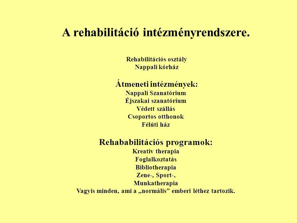 A rehabilitáció intézményrendszere. Rehabilitációs osztály Nappali kórház Átmeneti intézmények: Nappali Szanatórium Éjszakai szanatórium Védett szállá